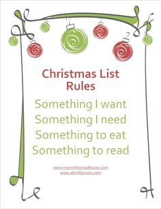 Going to try to cut back this year.....I hope I can do this and not cave to my love of spoiling my kids...Christmas list: Something they want Something they need Something to wear  Something to read