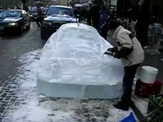 Ross Navarro and Pempe Navarro Carving Ice Ferrari infront of Sassafraz