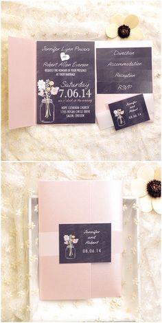 rustic mason jars black and blush pocket wedding invitation kits