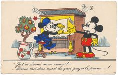 Disney Postcard - Minnie Plays Piano for Mickey Mouse
