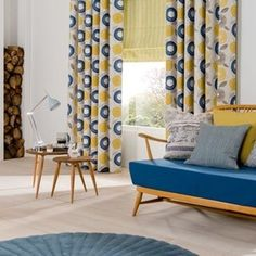 Browse curtains in all styles, with gorgeous colours and patterns. Save with great prices and enjoy an in-home service, including measuring & fitting. Book an in-home appointment today. Coral Curtains, Bay Window Curtains, Curtains With Blinds, Custom Window Treatments, Roman Blinds, Curtain Fabric, Love Seat, Diy Home Decor, House Design