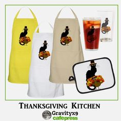 Thanksgiving Le Chat Noir With Turkey Pilgrim in the Kitchen by #Gravityx9 at Cafepress #SpoofingTheArts   #kitchenideas  #kitchenwear #lechatnoir #thanksgivingwear #cook #Chef #kitchen #turkeyday