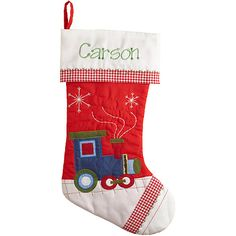 Personalized Nostalgic Gingham Christmas Stocking, Train $19