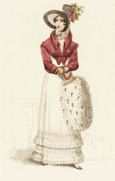 Walking dress, December 1819. Fur muff used as a hand warmer. She is also wearing a bonnet which was extremely popular at the time and a spencer or small cropped jacket/coat with the empire waistline.