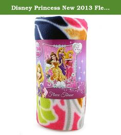 """Disney Princess New 2013 Fleece Blanket for Children (Princess Shining Flowers) 46"""" X 60"""". Kid's will love this blanket with Disney princess Belle from Beauty and the Beast, Aurora from sleeping beauty and Rapunzel from Tangled. 100% Polyester lightweight soft blanket great for taking on the go."""