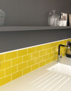 Yellow Glass Metro Tiles