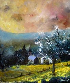 Artwork >> Pol Ledent >> Printemps à Gendron #artwork, #masterpiece, #painting, #contemporary, #art, #nature, #trees, #sky