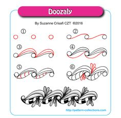 Doozaly - Step by Step Zentangle Pattern by Suzanne Crisafi Doodle Designs, Doodle Patterns, Line Patterns, Zentangle Patterns, Doodle Borders, Doodle Zen, Tangle Doodle, Tangle Art, Zentangle Drawings