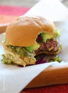 Salsa Verde Burgers – lean burgers topped with salsa verde and avocado, my FAVE!!! Perfect for Cinco De Mayo.