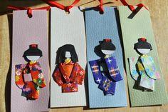 Japanese Geishas in Kimonos, Origami Paper Bookmark Set of 4