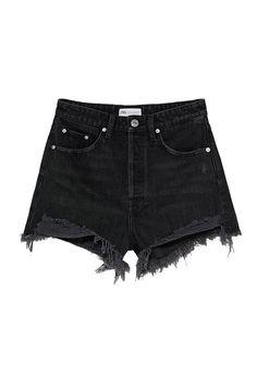 High-Waisted Five Pocket Shorts. Washed Effect. Ripped Detail. Frayed Hem. Front Metal Button Closure. Estilo Shorts Jeans, Denim Shorts Style, Baggy Shorts, Ripped Jean Shorts, Black Jean Shorts, Black Ripped Jeans, High Waisted Shorts, Shorts With Pockets, Pocket Shorts