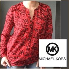 MK red/black blouse Perfect for the Holidays! Excellent MK quality. Rounded hem, long sleeve with gold button detail, crew neck with split front. Blouse is not sheer, but stitching along front and hem is. But very minimal. Michael Kors Tops Blouses