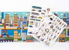 26 car games + activities: Stickyscapes Paris, London, and New York activity books