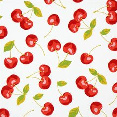 white big cherry fabric from Kokka Japan