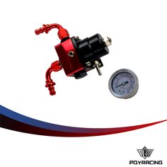PQY- fpr AN6 Fitting DIY Black&Red fuel pressure regulator Universal with 2PCS PUSH ON LOCK HOSE END FITTINGS