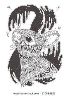 Hand-drawn bunny with ethnic floral doodle pattern. Coloring page - zendala, design for spiritual relaxation for adults, vector illustration, isolated on a white background. Zen doodles.
