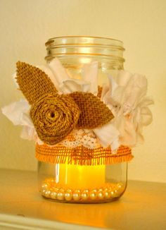 Image detail for -Mason jar decorated with burlap, burlap rosette, lace and shabby ...