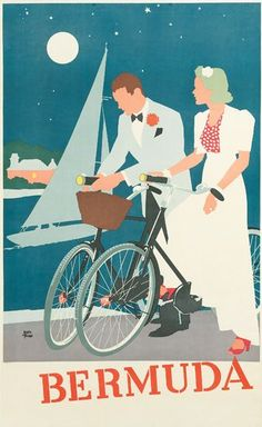 1950s poster. Block colour style