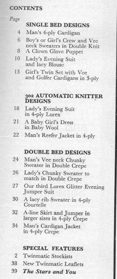 Modern Knitting November 1966 - Contents