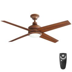 Home Decorators Collection Mercer 52 in. LED Indoor Distressed Koa Ceiling Fan with Light Kit and Remote Control