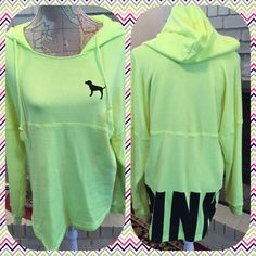 Pink Victoria's Secret Yellow Hooded Sweatshirt Pink Victoria's Secret Bright hi lighter yellow colored hi low hooded sweatshirt.  The letters PINK are black on the back at the bottom.  Size small.  No trades. PINK Victoria's Secret Tops Sweatshirts & Hoodies