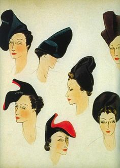 Illustration for hats by Elsa Schiaparelli    Part of her autumn/winter 1937-38 collection