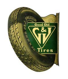RARE Original G & J Tires Tin Flange Sign