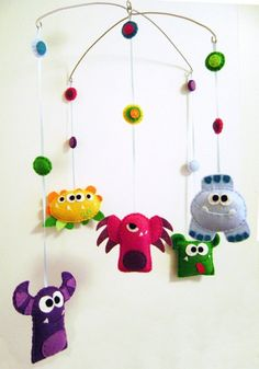 Baby Mobile Felt Monster Mayhem Made to Order by RedMarionette Mobiles, Felt Crafts, Diy And Crafts, Diy For Kids, Crafts For Kids, Monster Nursery, Baby Mobile Felt, Monster Birthday Parties, Halloween Crafts
