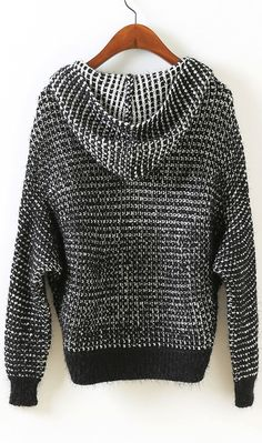 Casual cardigan,for every day! #Hooded #zipper #mohair #sweater #black #white #ahai @AHAI