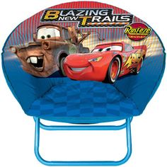 This saucer chair is the perfect addition to any boy's room or play room. Chair folds up for easy storage and features your favorite Disney Cars characters;