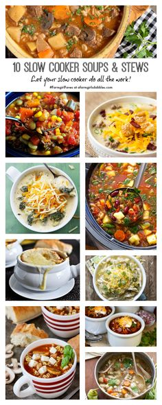 10 Slow Cooker Soups and Stews from afarmgirlsdabbles.com #farmgirlfaves