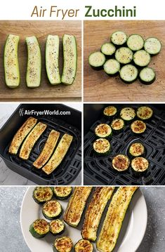Air Fryer Zucchini Recipe with garlic that's quick, easy. This air fried zucchini recipe with garlic is low carb, paleo and easy keto recipe Zucchini Chips, Zucchini In The Oven, Roast Zucchini, Bake Zucchini, Healthy Zucchini, Zucchini Bites, Air Fried Vegetable Recipes, Fried Zucchini Recipes, Garlic Recipes