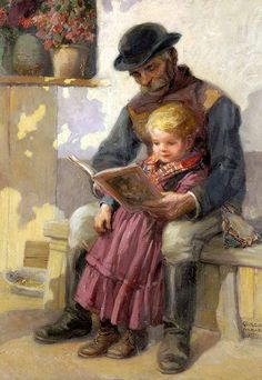 """the-flying-salmon: """" """"Nagypapa mesél (Grandpa Reads)"""", by Richard Geiger (Hungarian, """" Art And Illustration, Illustrations, Reading Art, Woman Reading, Children Reading, I Love Books, Books To Read, Book People, World Of Books"""