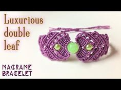 Diamond Square Bracelet with small beads and leaves - Macrame Tutorial - YouTube