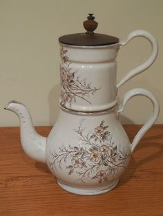 VINTAGE French Enamelware COFFEE POT - Floral design signed B & W ca.1900 -