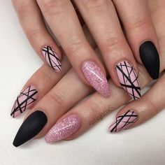 Trendy matte black nails with glitter Carrie West Black Carrie Trendy matte . , Trendy matte black nails with glitter Carrie West Black Carrie Trendy matte . Black Nails With Glitter, Matte Black Nails, Black Nail Art, Glitter Art, Pink Glitter, Matte Red, Edgy Nail Art, Matte Nails Glitter, Nail Pink