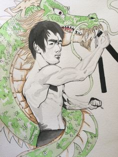 Completed Bruce Lee watercolor painting