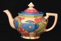 Clarice Cliff Blue Chintz Athens Teapot
