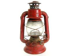 Antique Red Kerosene Lantern / Railroad Camping Oil Lamp / Vintage Industrial Decor / Made in USA