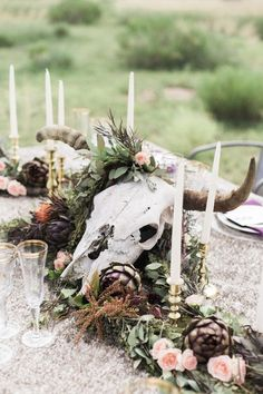 Rustic Wedding Centerpieces, Wedding Table, Wedding Decorations, Centerpiece Ideas, Antler Wedding Decor, Wedding Themes, Antler Centerpiece, Wedding Photos, Unique Centerpieces