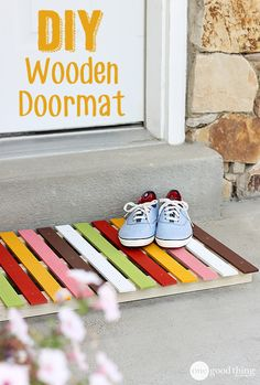 One Good Thing by Jillee: DIY Wooden Doormat - Create A Colorful Welcome!