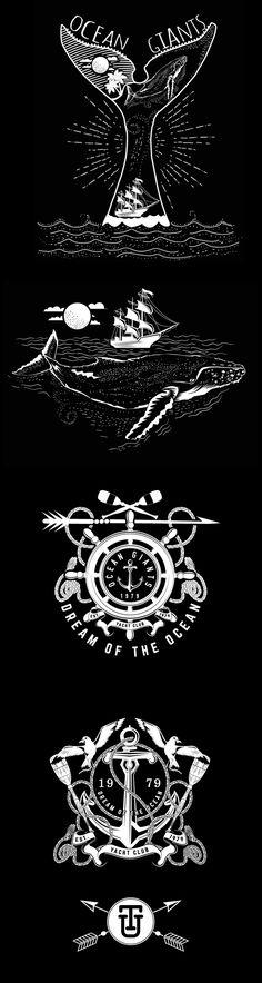 ocean-themed vector illustration work.T shirt prints.
