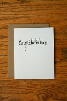 Congratulations Hand Lettering card.
