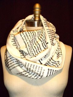 Love this infinity scarf with pages from a book printed on it