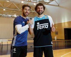 Sergio Ramos with Sergio Llull. Barcelona hearthbreakers