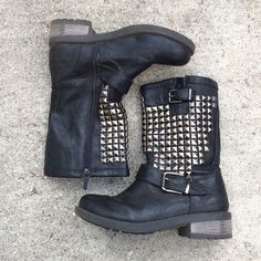 Black & Silver Stud Motorcycle Boots Black color. Silver studs on sides. Great condition (worn twice). Small scuffs as seen in picture 2. Inside zippers. Shoes Combat & Moto Boots
