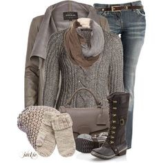Taupe and oatmeal winter casual