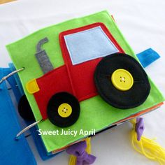 Button Wheels Tractor Quiet Book Page by SweetJuicyApril on Etsy