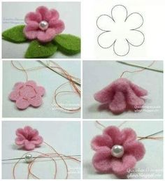 DIY und Selbermachen Straightforward flower making, pink center with mom of pearl - Cloth Flowers, Diy Flowers, Paper Flowers, Fabric Crafts, Sewing Crafts, Fleurs Diy, Felt Patterns, Felt Flowers Patterns, Felt Fabric