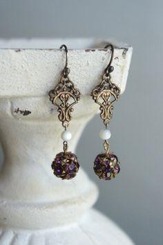 Assemblage oorbellen paars oorbellen vintage oorbellen lavendel oorbellen paars…